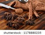 star anise with cinnamon sticks ... | Shutterstock . vector #1178880235