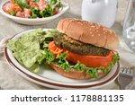 a veggie burger with kale ... | Shutterstock . vector #1178881135