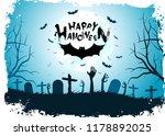 halloween background with bat.... | Shutterstock . vector #1178892025