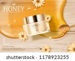 honey cream jar ads with golden ... | Shutterstock .eps vector #1178923255