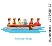 boat rescue team helping people ... | Shutterstock .eps vector #1178938432