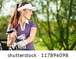 Gorgeous Golfer Lady With Golf...