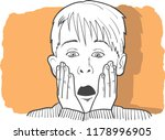 the boy with a surprised face. | Shutterstock .eps vector #1178996905