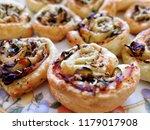 mini pizza rolls parma ham and... | Shutterstock . vector #1179017908