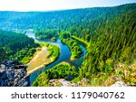 mountain forest river top view...   Shutterstock . vector #1179040762
