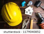wooden white house toy and... | Shutterstock . vector #1179040852