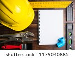 blank notebook white paper and... | Shutterstock . vector #1179040885