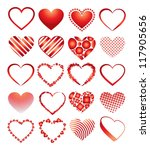 vector hearts set for wedding... | Shutterstock .eps vector #117905656