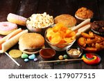 unhealthy products. food bad... | Shutterstock . vector #1179077515