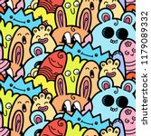 funny doodle monsters seamless... | Shutterstock .eps vector #1179089332