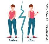 fat and slim women weight loss...   Shutterstock .eps vector #1179097102