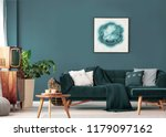 poster above sofa with pillows... | Shutterstock . vector #1179097162