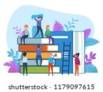 small people doing various... | Shutterstock .eps vector #1179097615