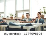 in the cafe. nice serious... | Shutterstock . vector #1179098905