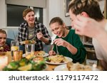 friends are having a dinner... | Shutterstock . vector #1179117472