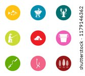 angling icons set. flat set of... | Shutterstock .eps vector #1179146362