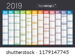 year 2019 colorful calendar  in ... | Shutterstock .eps vector #1179147745