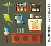 vector cartoon cafe set  ... | Shutterstock .eps vector #1179161968