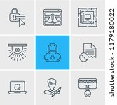 illustration of 9 privacy icons ... | Shutterstock . vector #1179180022