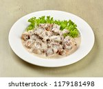 beef in cream sauce with... | Shutterstock . vector #1179181498