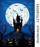 halloween night with dark... | Shutterstock . vector #1179185095