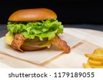 delicious cheeseburger with... | Shutterstock . vector #1179189055