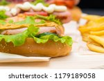 sesame bun with grilled sausage ... | Shutterstock . vector #1179189058