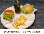 double cheese and bacon burgers ... | Shutterstock . vector #1179189205