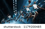 collage. basketball player in... | Shutterstock . vector #1179200485
