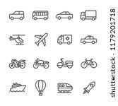 the transport icon set line... | Shutterstock .eps vector #1179201718