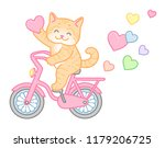 happy red cat in love rides a... | Shutterstock .eps vector #1179206725