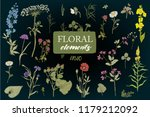 collection with field flowers | Shutterstock .eps vector #1179212092