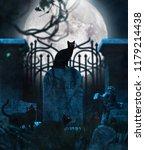 black cats in cemetery... | Shutterstock . vector #1179214438