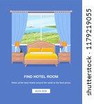 hotel room banner. vector.... | Shutterstock .eps vector #1179219055