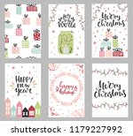 set of christmas greeting cards ... | Shutterstock .eps vector #1179227992