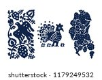 set of 3 wood block printed... | Shutterstock .eps vector #1179249532