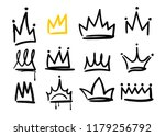 various doodle crowns. hand... | Shutterstock .eps vector #1179256792