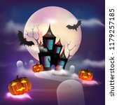halloween full moon background... | Shutterstock .eps vector #1179257185
