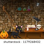 Cartoon Black Cat In The Witch...