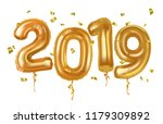 new year 2019 celebration. gold ... | Shutterstock .eps vector #1179309892