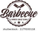 vintage barbecue meat menu stamp | Shutterstock .eps vector #1179333118