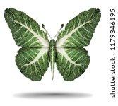 vegan green leaves symbol and... | Shutterstock . vector #1179346195