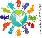 cute children silhouettes...   Shutterstock .eps vector #117934882