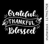 grateful thankful blessed. hand ... | Shutterstock .eps vector #1179417928