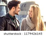 young couple dating in the city....   Shutterstock . vector #1179426145
