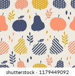 seamless pattern with apples ... | Shutterstock .eps vector #1179449092