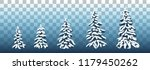 vector set of snow covered pine ...