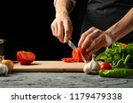 the chef cuts and tastes... | Shutterstock . vector #1179479338