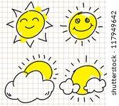 set of hand drawn sun | Shutterstock .eps vector #117949642
