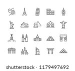 Simple Set of Landmarks Related Vector Line Icons. Contains such Icons as Christ the Redeemer, Statue of Liberty, Kremlin and more. Editable Stroke. 48x48 Pixel Perfect.